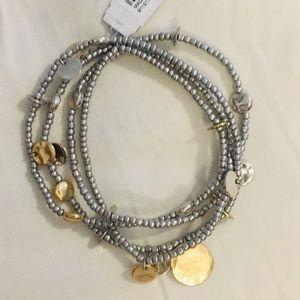 J Jill silver and gold beaded bracelet